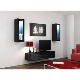 dodání 30 dní - Luxusní obývací stěna VIGO 8 Černý / Černý lesk