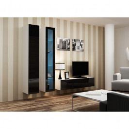 dodání 30 dní - Moderní obývací stěna VIGO 10 Bílý / Černý lesk