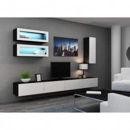 dodání 30 dní - Stylová obývací stěna VIGO 11 Černý / Bílý lesk