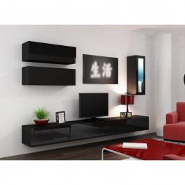 dodání 30 dní - Luxusní obývací stěna VIGO 12 Černý / Černý lesk