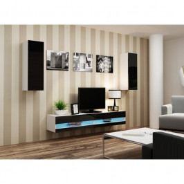 dodání 30 dní - Luxusná obývací stěna VIGO NEW 10 Bílý / Černý lesk