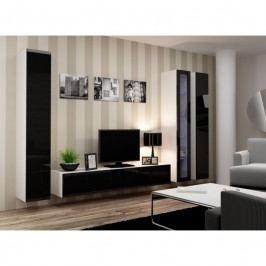 dodání 30 dní - Luxusní obývací stěna VIGO 2 Bílý / Černý lesk