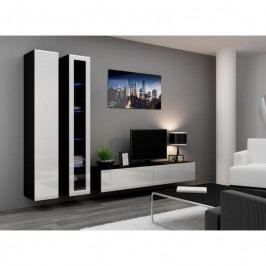 dodání 30 dní - Moderní nábytek do obýváku VIGO 3 Černý / Bílý lesk