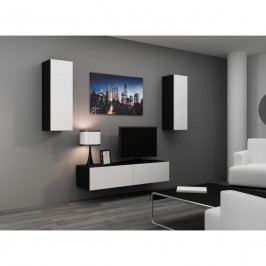 dodání 30 dní - Stylová obývací stěna VIGO 7 Černý / Bílý lesk