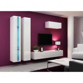 dodání 30 dní - Moderní obývací stěna VIGO NEW 1 Bílý / bílý lesk