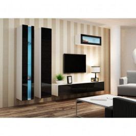 dodání 30 dní - Trendy obývací stěna VIGO NEW 2 Bílý / Černý lesk