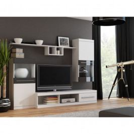 dodání 30 dní - Moderní obývací stěna NICK Bílý / Bílý + Černý lesk
