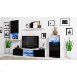 dodání 30 dní - Moderni obývací stěna LOFT Bílý mat / Černý lesk