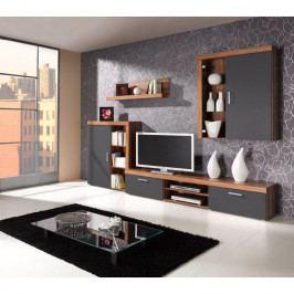 dodání 30 dní - Systémový nábytek SAMBA do obýváku sestava 8 švestka / grafit