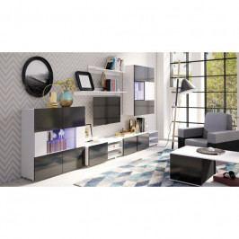 dodání 30 dní - Moderní obývací stěna GORDIA sestava 8 bílý+černý
