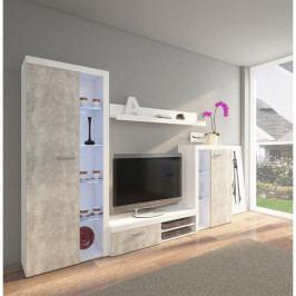 dodání 30 dní - Obývací stěny RUMBA / RODOS  Světlý beton / Bílý