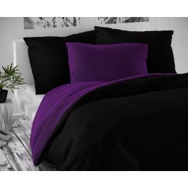 Saténové povlečení LUXURY COLLECTION 140x200, 70x90cm černé / tmavě fialové