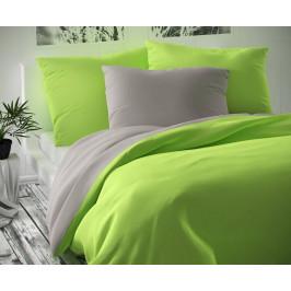 Saténové prodloužené povlečení LUXURY COLLECTION 140x220, 70x90cm světle šedé / světle zelené