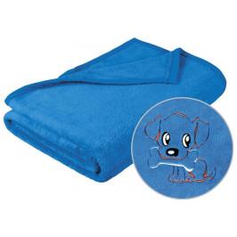 Dětská micro deka 75x100 cm modrá s výšivkou