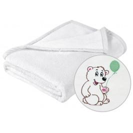 Dětská micro deka 75x100 cm bílá s výšivkou