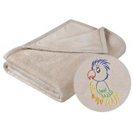 Dětská micro deka 75x100 cm béžová s výšivkou