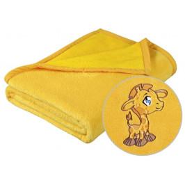 Dětská micro deka 75x100 cm žlutá s výšivkou