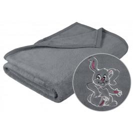 Dětská micro deka 75x100 cm šedá s výšivkou