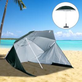 Goleto Plážový slunečník 2v1 210 cm s bočnicemi | zelený