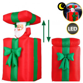 Goleto Nafukovací vánoční dekorace - Dárek se Santa Clausem | 152 cm