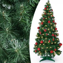 Goleto Umělý vánoční stromek Pop-Up včetně ozdob a LED osvětlení 180 cm   zelený