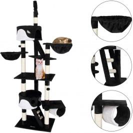 Goleto Škrabadlo pro kočky 240-260 x 50 x 120 cm | černo-bílé