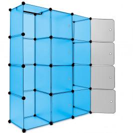 Goleto Variabilní regálový systém na boty modrý 115 cm x 37 cm x 150 cm | 12 boxů