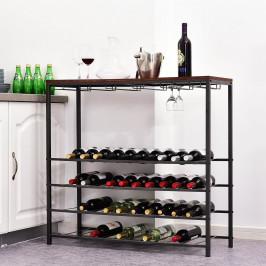 Goleto Kovový stojan na víno a sklenice | 96 x 35 x 91 cm
