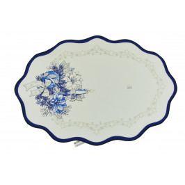 Vánoční ubrus - bílý s modrým lemem 48x33 cm