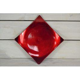 Umělý tácek - červeně-bordó (18x18 cm)