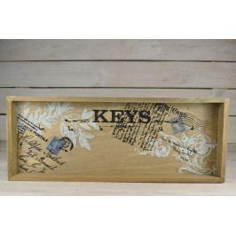 Dřevěný věšák KEYS - šedo-bílý (40,5x16,5 cm)