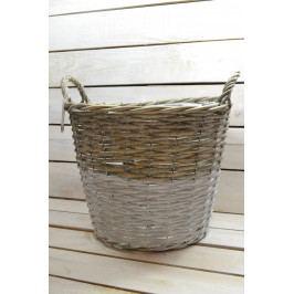 Proutěný košík s rukojetí - bílo-šedý (v. 29 cm, p. 35 cm)