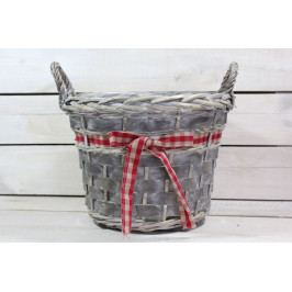 Proutěný košík s červenou kostkovanou mašlí - šedý (v. 20 cm, p. 26,5 cm)