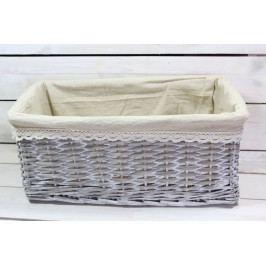 Proutěný košík s hnědou látkou - šedý (40x26,5 cm)