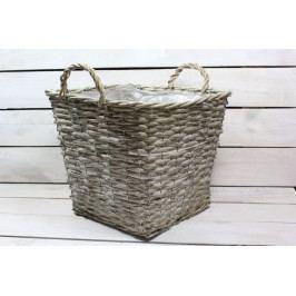 Proutěný košík (31x25,5x31 cm) - šedý