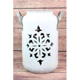Hliněná lucerna - bílo-šedá (v. 39cm)