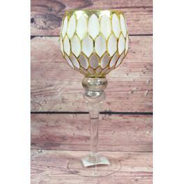 Skleněný svícen na podstavci - bílo-zlatý (v. 40 cm)