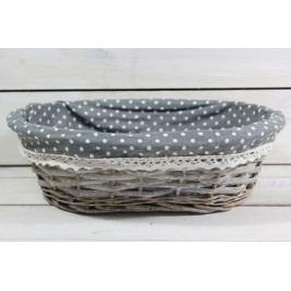 Proutěný košík s šedou tečkovanou látkou (31x9,5x24 cm)