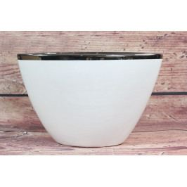 Keramická váza bílo-stříbrná (v. 16 cm)