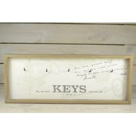 Dřevěný věšák KEYS - šedo-tyrkysový (40,5x16,5 cm)