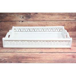 Dřevěná tácek - bílá (47x7,5x33 cm)
