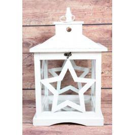 Dřevěný lucerna - bílý s hvězdou (v. 45 cm)  venkovský stylu