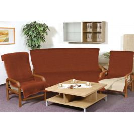 Bellatex přehozy na sedací soupravu Kira plus Světle béžová/terra 150x200  + 2ks 65x150 cm