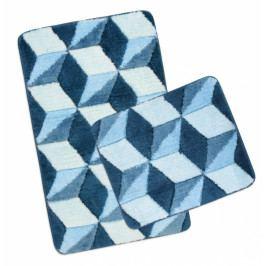 Bellatex koupelnová předložka ULTRA sada modrá krychle sada 60x100 + 60x50 cm bez výkroje WC