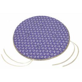 Bellatex sedák kulatý hladký Adéla kytička na fialové