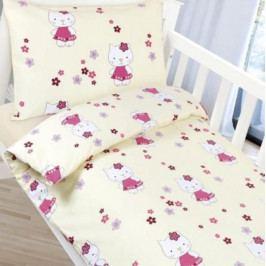 Bellatex dětské povlečení bavlna do postýlky Agáta Kočička 90x135 + 45x60 cm