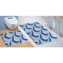 Bellatex koupelnová předložka ULTRA sada modré kapky 60x100 + 60x50 cm bez výkroje WC