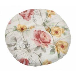Bellatex sedák kulatý prošívaný EMA růže na dřevě