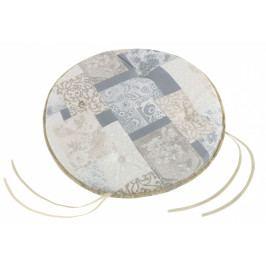 Bellatex sedák kulatý hladký EMA patchwork šedomodrý