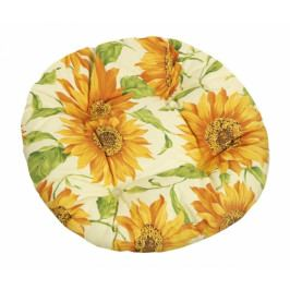 Bellatex sedák kulatý prošívaný Gita květ slunečnice